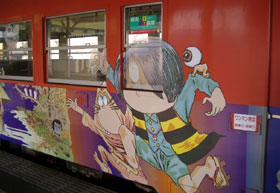 米子~境港間を走る鬼太郎列車
