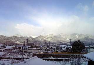 大会当日、早朝の雪景色
