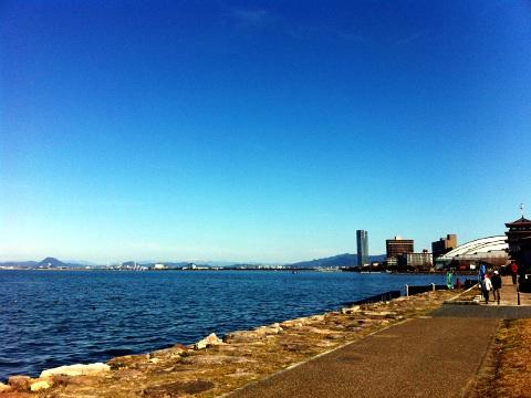 大会前日の琵琶湖畔プロムナード