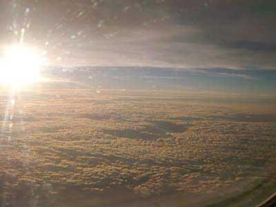 帰路、機内からの光景