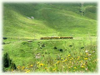 遠くに見ると模型のような山岳列車