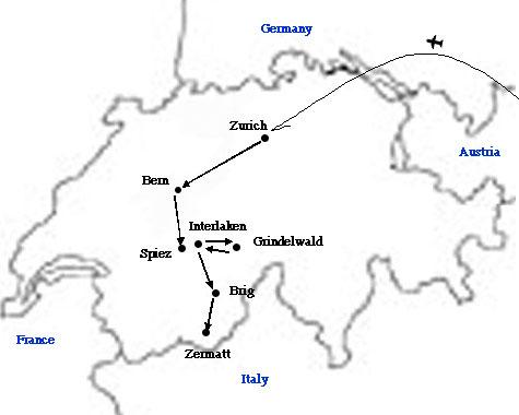 スイス移動行程図