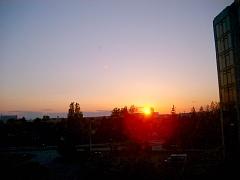 デルタホテルの部屋から見るカナダの夕陽